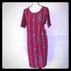 5/$20 LuLaRoe Julia Dress L Burgundy Patterned New